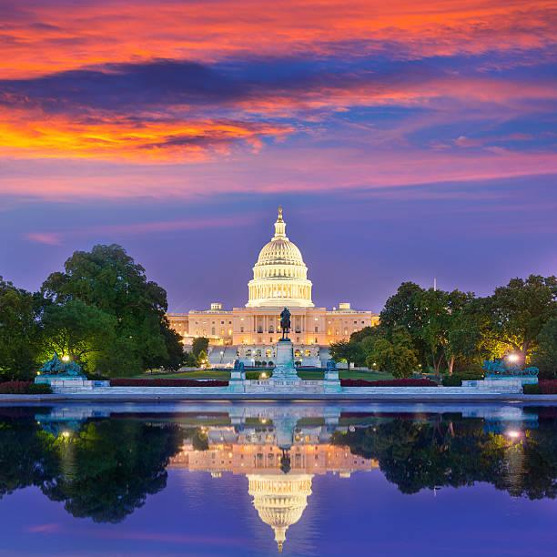 Capitol building sunset Washington DC congress stock photo