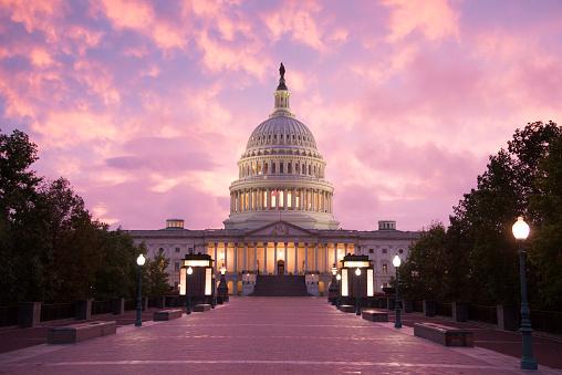 Capitol Building Sunset Washington Dc Stock Photo - Download Image Now