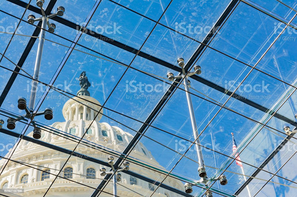 US Capitol Building Through Glass Windows Metal Chrome Supports stock photo