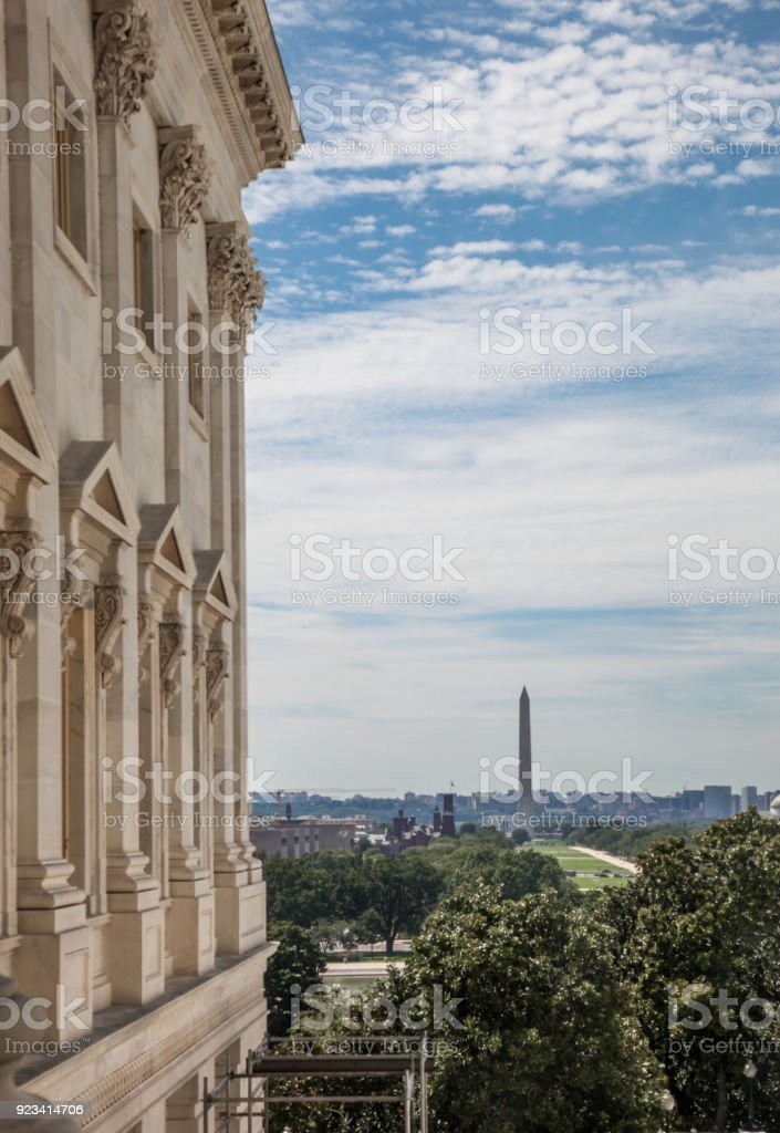 U.S. Capitol Building View from Senate Wing to National Mall and Washington Monument in Washington, DC stock photo