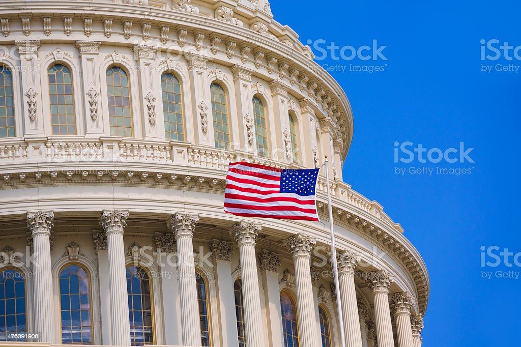 Capitol building Washington DC american flag USA stock photo