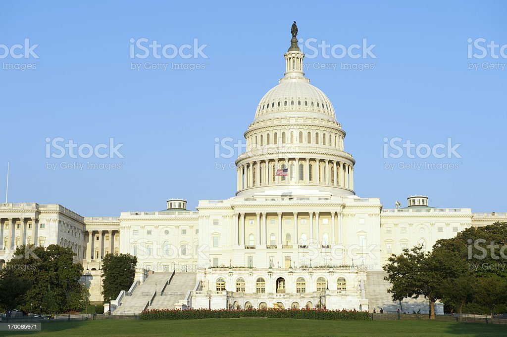 Capitol Building Washington DC Blue Sky Trees and Grass royalty-free stock photo