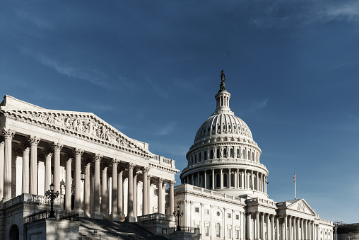 Capitol Building With Blue Sky From Side View Washington Dc Stock Photo - Download Image Now