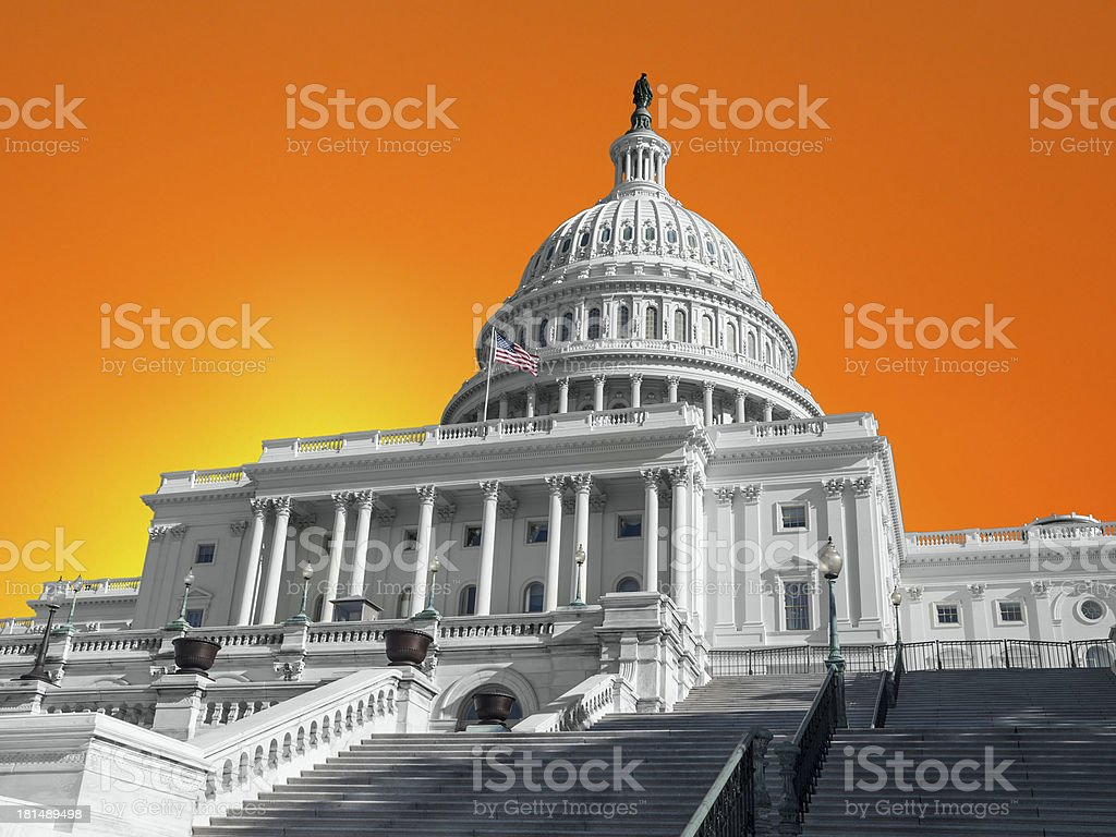 USA Capitol Building with Sunset Sky royalty-free stock photo