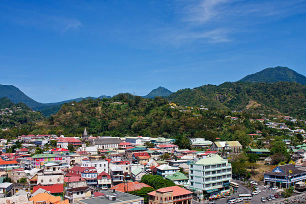 Green Hills Overlooking the Colorful Town of Bridgetown stock photo