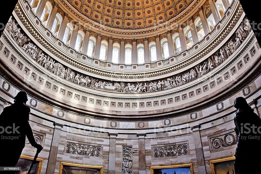US Capitol Dome Rotunda Statues DC stock photo