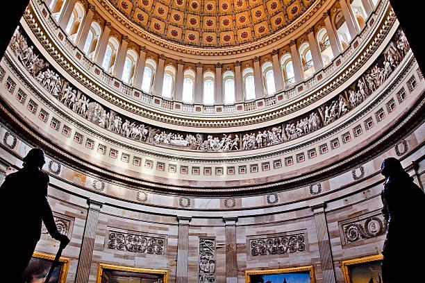 US Capitol Dome Rotunda Statues DC stock photo