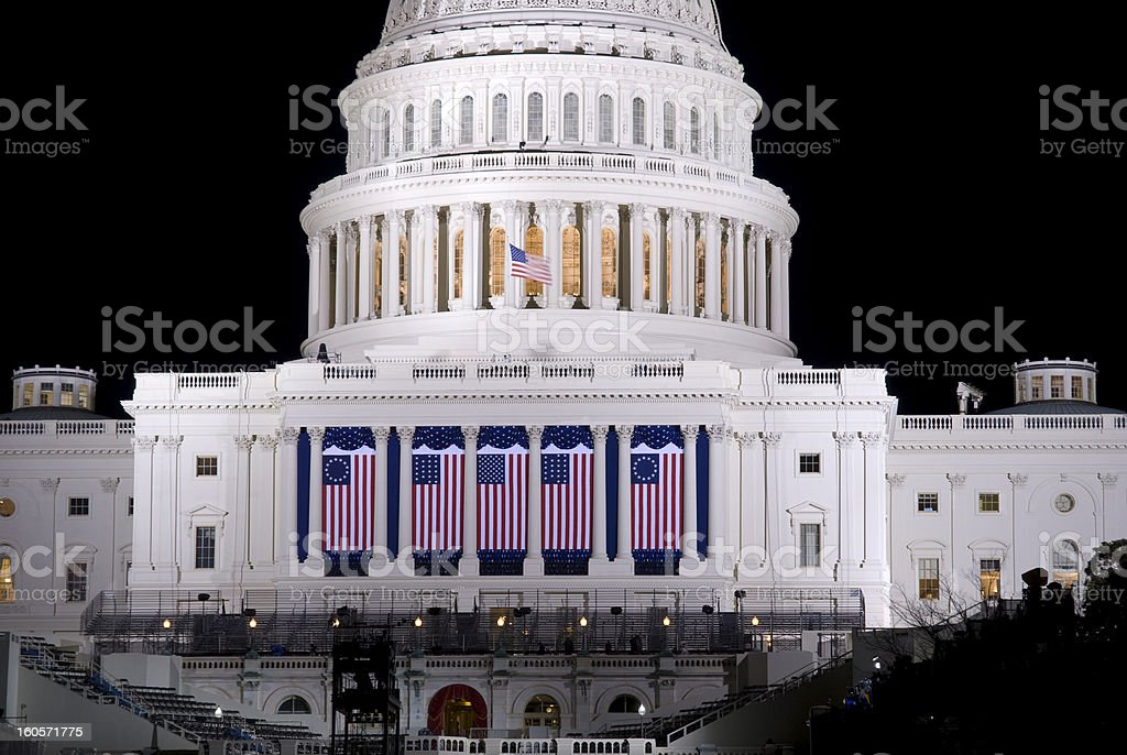 U.S. Capitol during 2013 Inauguration week. stock photo
