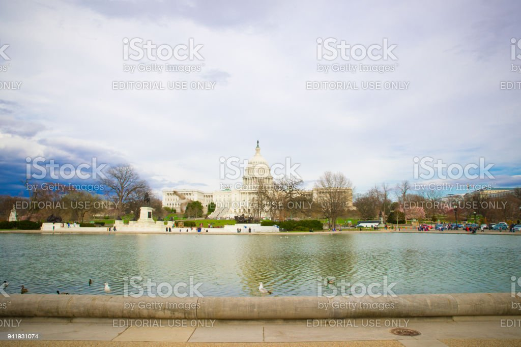 US Capitol Hill and mirror reflection - Washington DC, United States stock photo