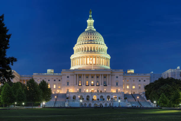 Capitol hill at night stock photo
