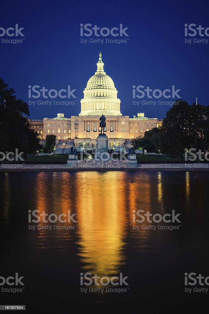 Capitol Hill Building at Night in Washington D.C. royalty-free stock photo