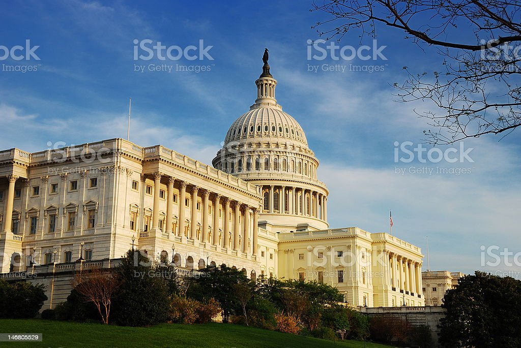 Capitol Hill Building in detail, Washington DC stock photo