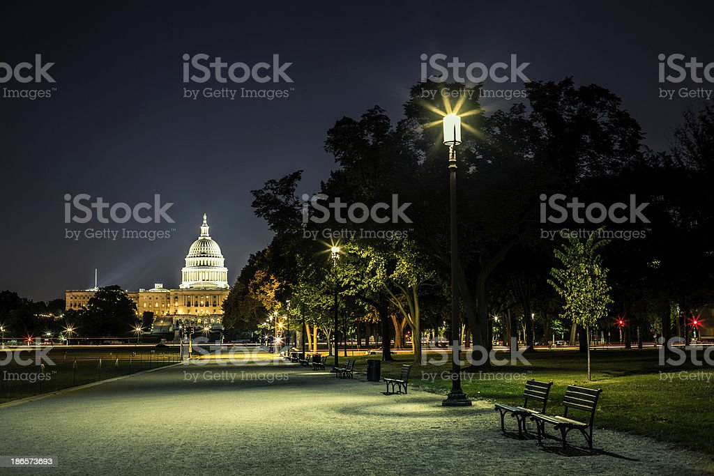 Capitol Hill Building in Washington D.C. at Night royalty-free stock photo