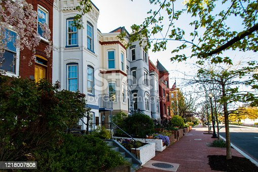 Classic examples of townhouses on Capitol Hill Washington DC