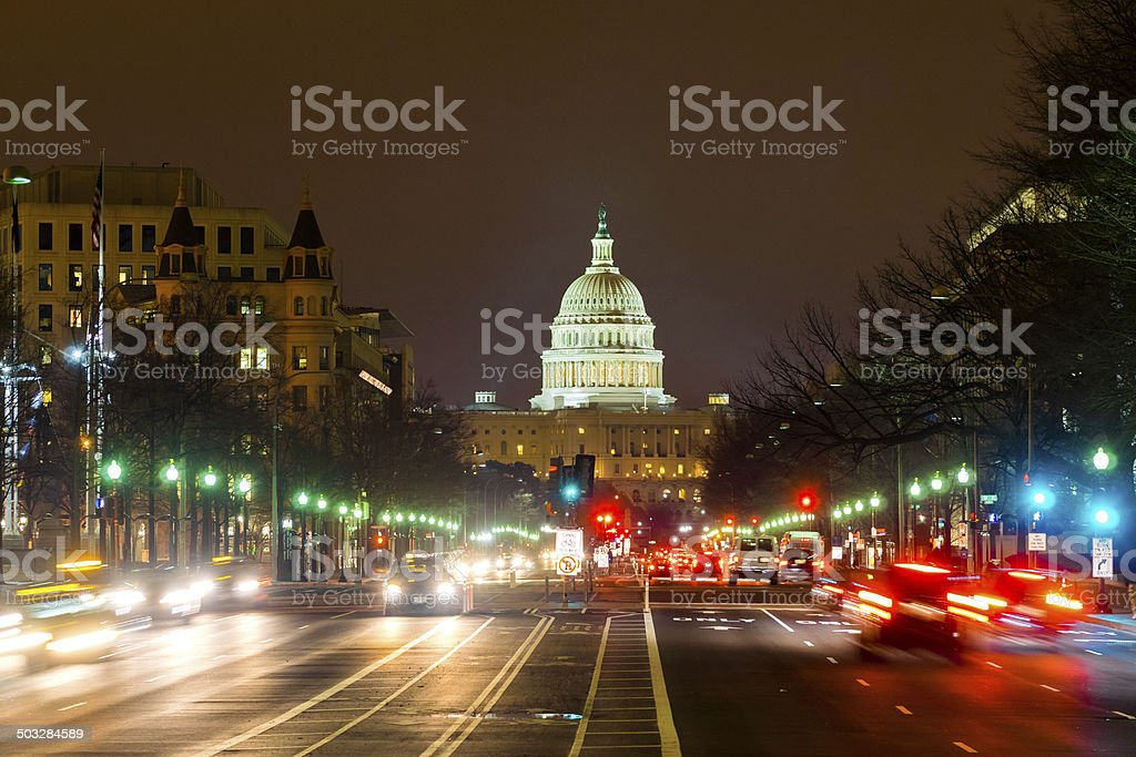 Capitol Hill traffic by night, Washington DC stock photo