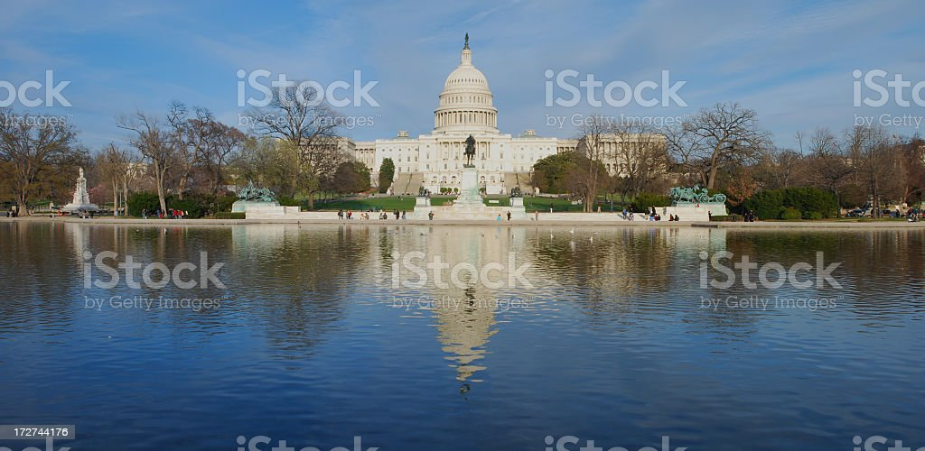 U.S. Capitol in reflection [panoramic] royalty-free stock photo