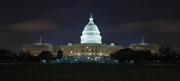 Capitol in the night stock photo