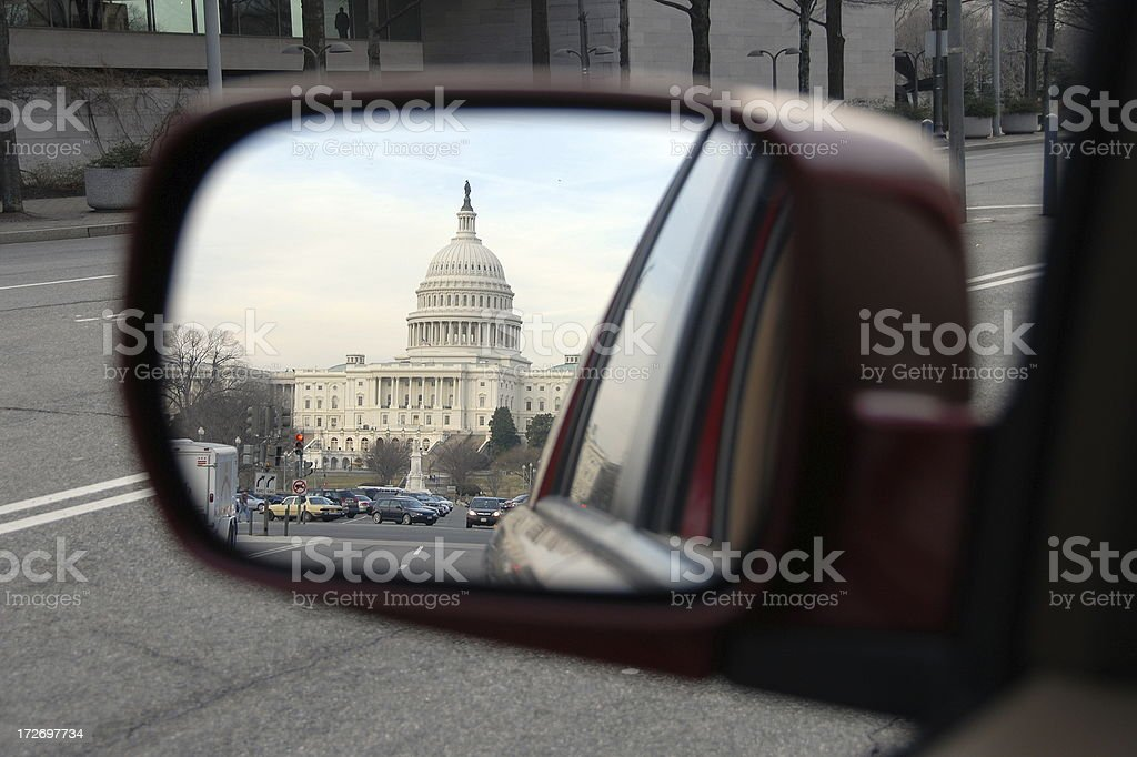 US Capitol in the rear view mirror stock photo