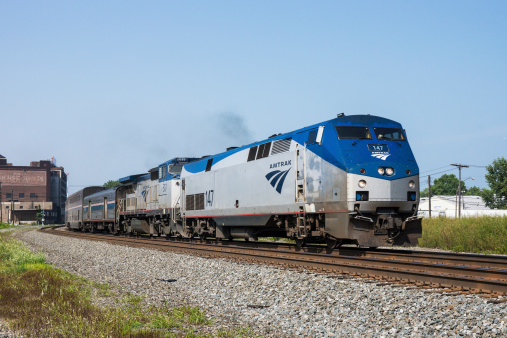 Сleveland, USA - August 4, 2014: The AMTRAK Capitol Limited passenger train eastbound at Cleveland, Ohio on August 4, 2014.  The train was involved in a minor collision with a Norfolk Southern freight train several hours earlier.  No injuries were reported.