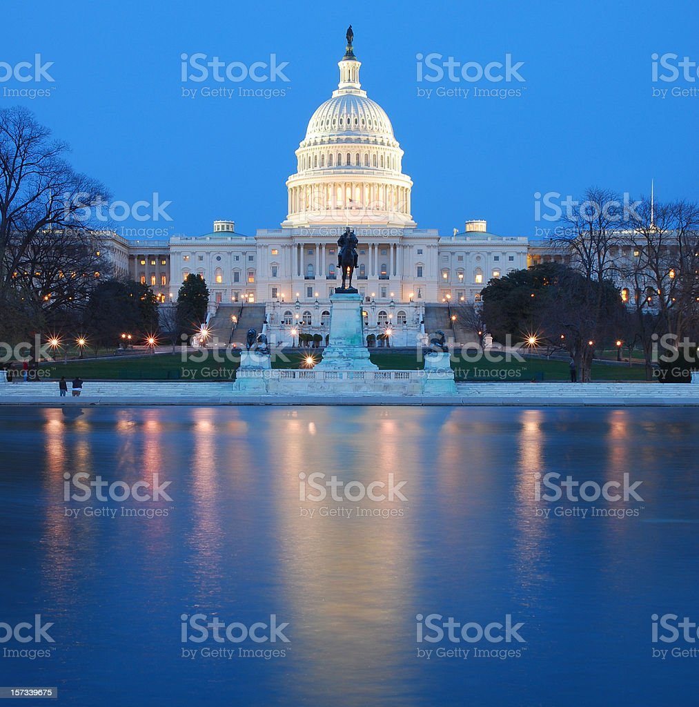 US Capitol lit up at night in washing DC stock photo