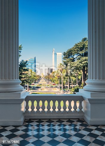Stock photograph of the Capitol Mall and the California State Capitol balcony in downtown Sacramento California USA