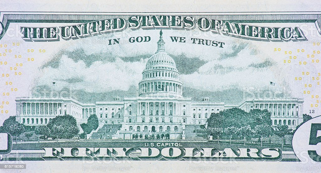 US Capitol on back of fifty dollar note - Royalty-free Architecture Stock Photo