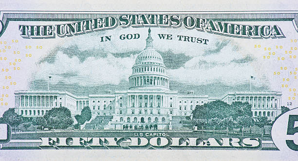 US Capitol on back of fifty dollar note stock photo