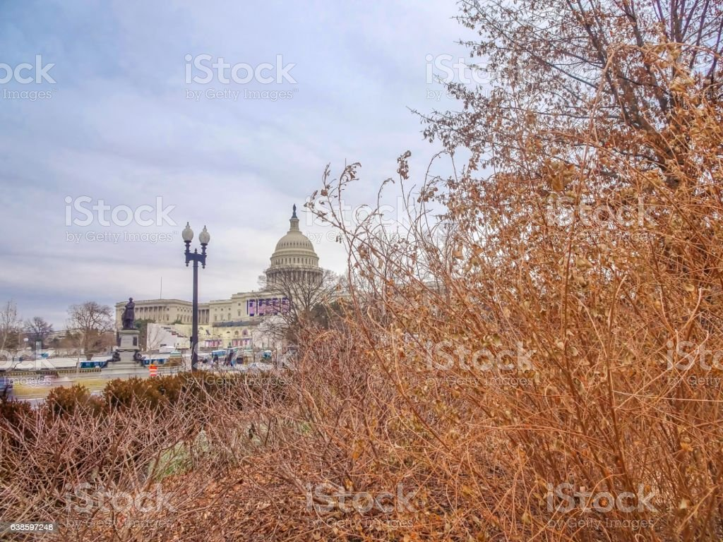 U.S. Capitol on cloudy day stock photo