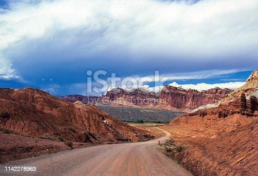 Capitol Reef National Park - Winding Road - August 1986.  Scanned from Kodachrome slide.