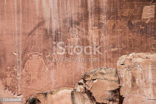 Capitol Reef Petroglyphs, Capitol Reef National Park, Utah, United States.