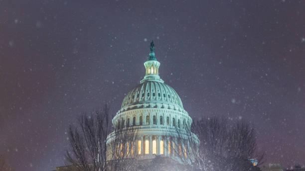 Capitol Snow Fall stock photo