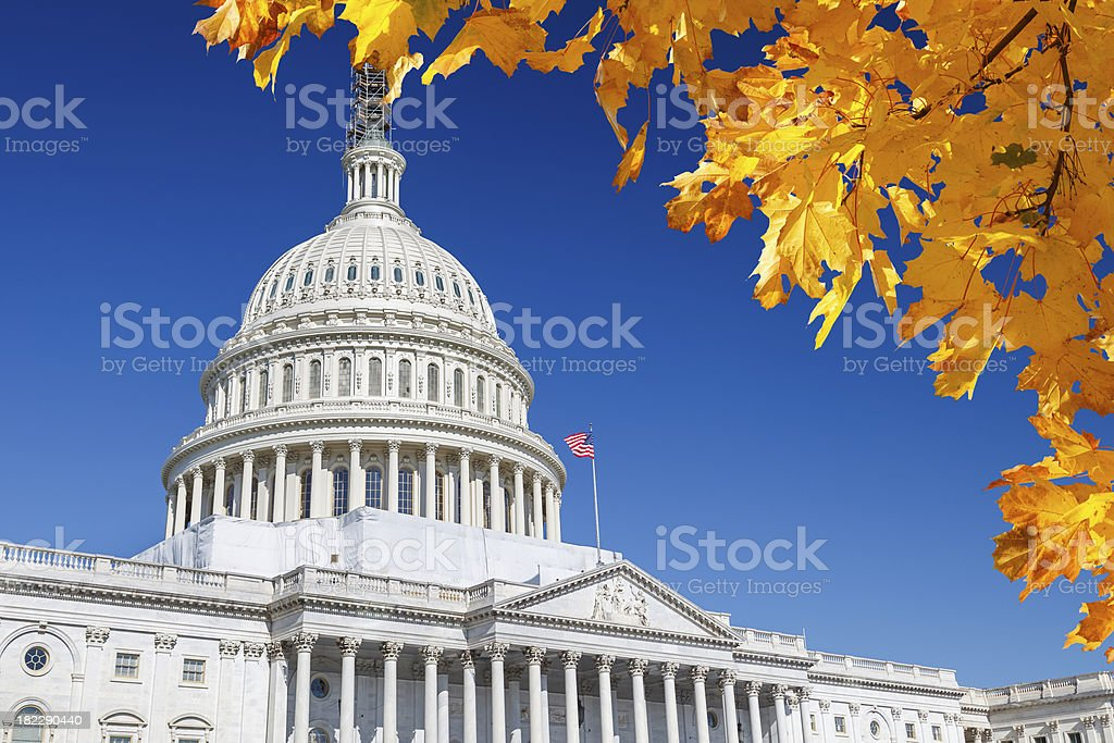 US Capitol under s blue sky in autumn royalty-free stock photo