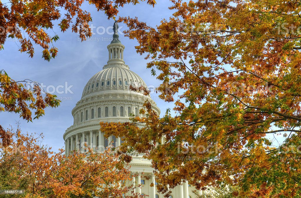 Capitol Washington DC in autumn royalty-free stock photo