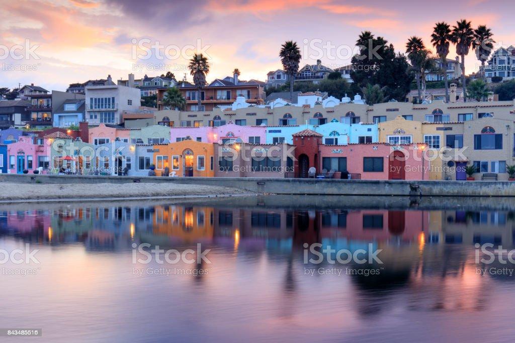 Capitola Village Sunset Reflections. stock photo