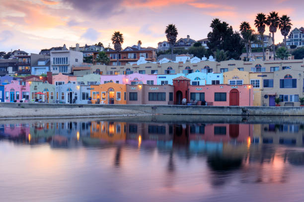 Capitola Village Sunset Reflections. Capitola, Santa Cruz County, California, USA riverbank stock pictures, royalty-free photos & images
