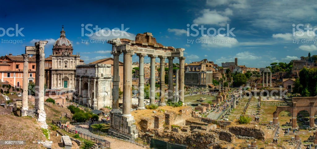 Capitoline Hill ruins, Rome, Italy stock photo