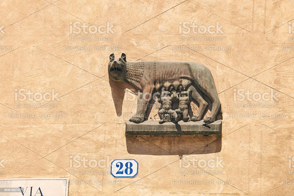 Capitoline Wolf bas-relief in Verona, Italy stock photo