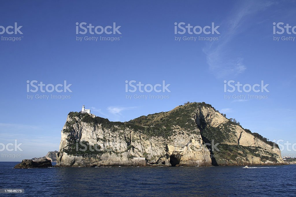 Capo Miseno visto dal mare stock photo