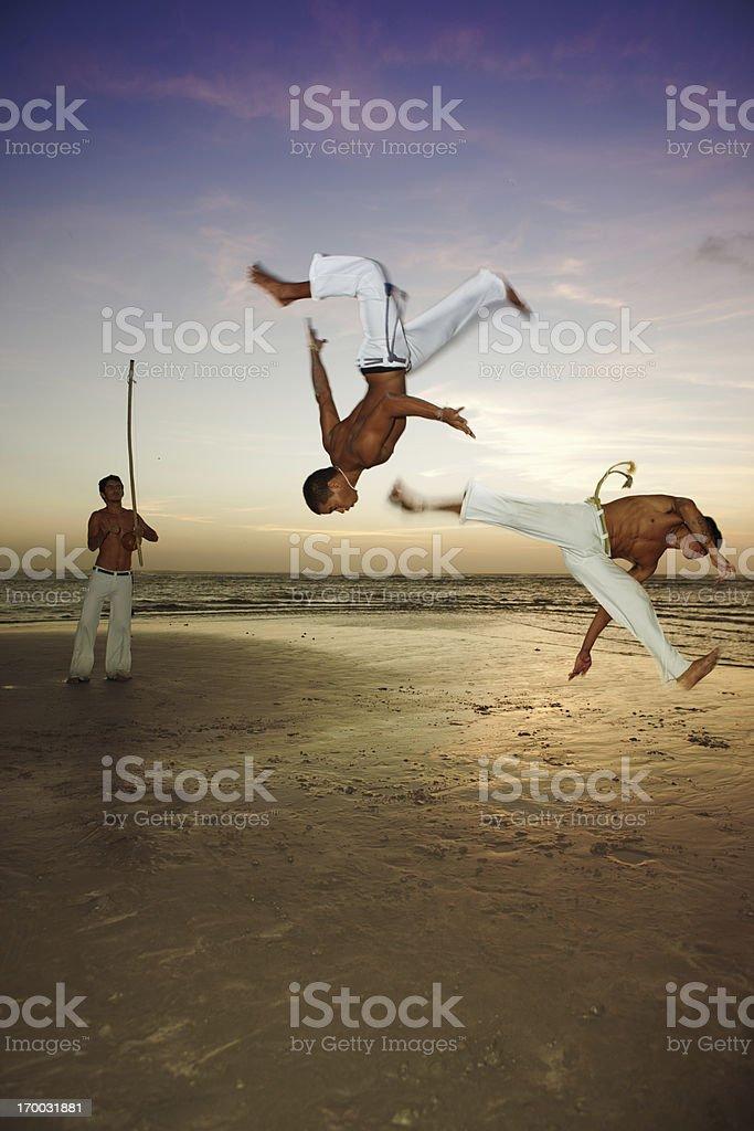 Capoeira on the beach royalty-free stock photo