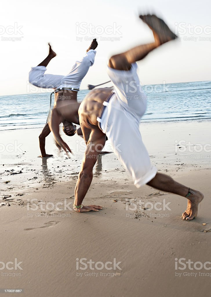 Capoeira on the beach royalty-free stock photo