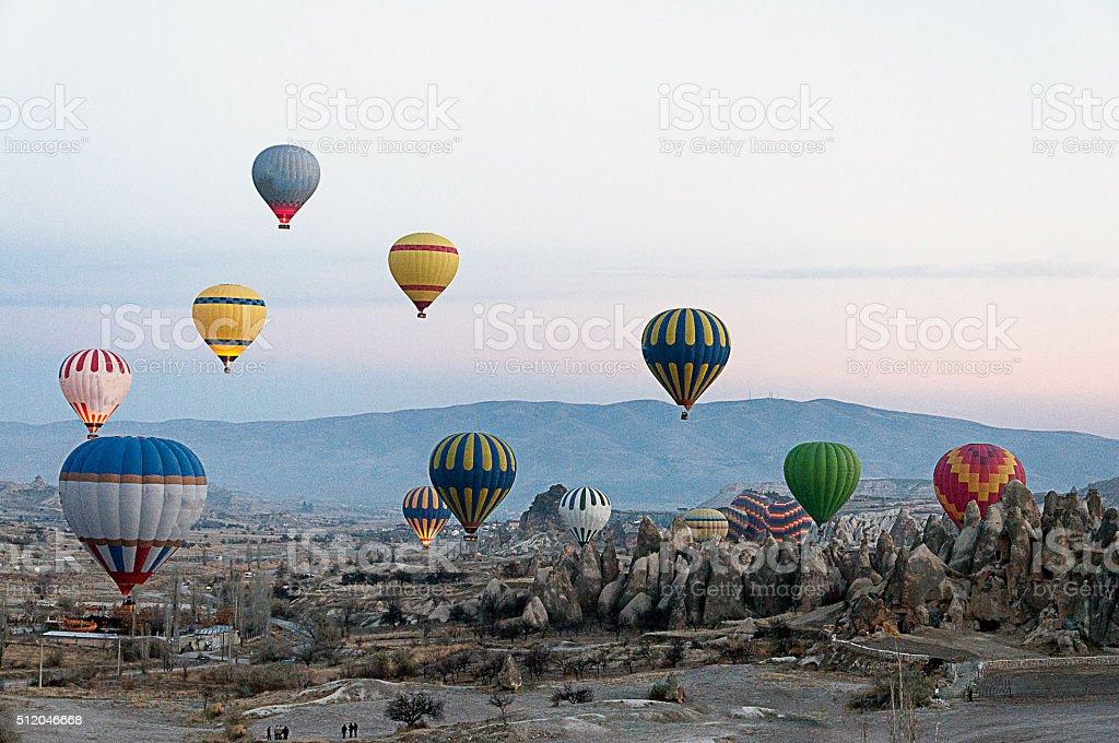 Cappadocia and multi colored hot air balloons and Cappadocia stock photo