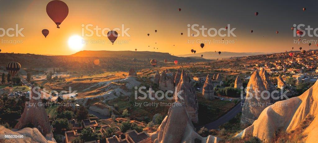 Cappadocia valley at sunrise stock photo