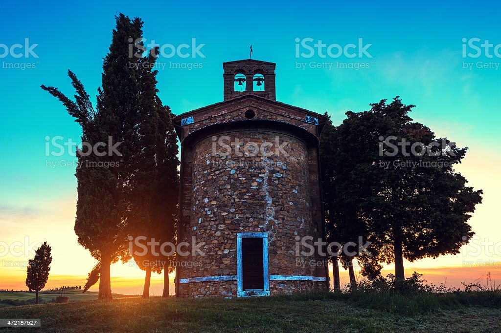 Cappella Di Vitaleta At Sunset stock photo