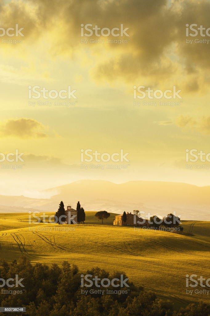 Cappella di Vitaleta in Tuscany, Italy stock photo