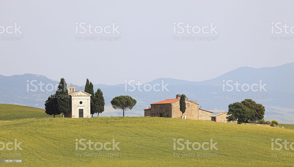 Cappella di Vitaleta in Val d'Orcia, Tuscany Italy stock photo
