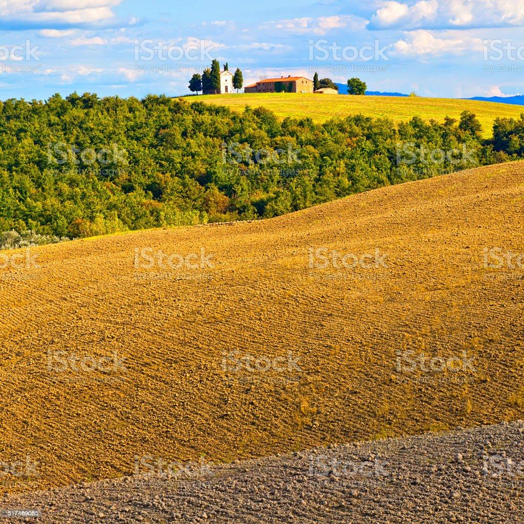Cappella di Vitaleta, Tuscany, Italy stock photo