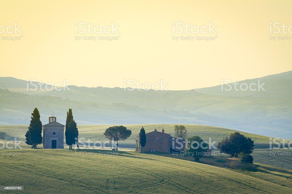 Cappella di Vitaleta, Val d'Orcia, Tuscany, Italy stock photo
