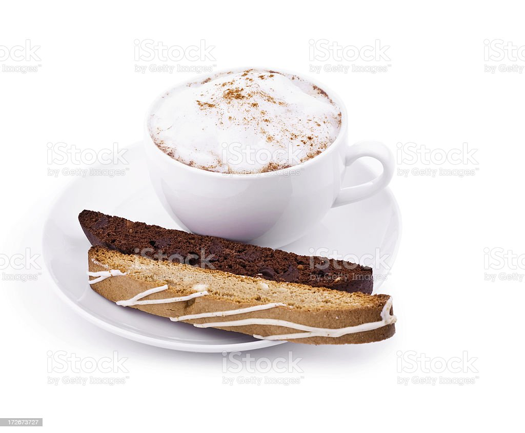 Cappuccino & Biscotti royalty-free stock photo