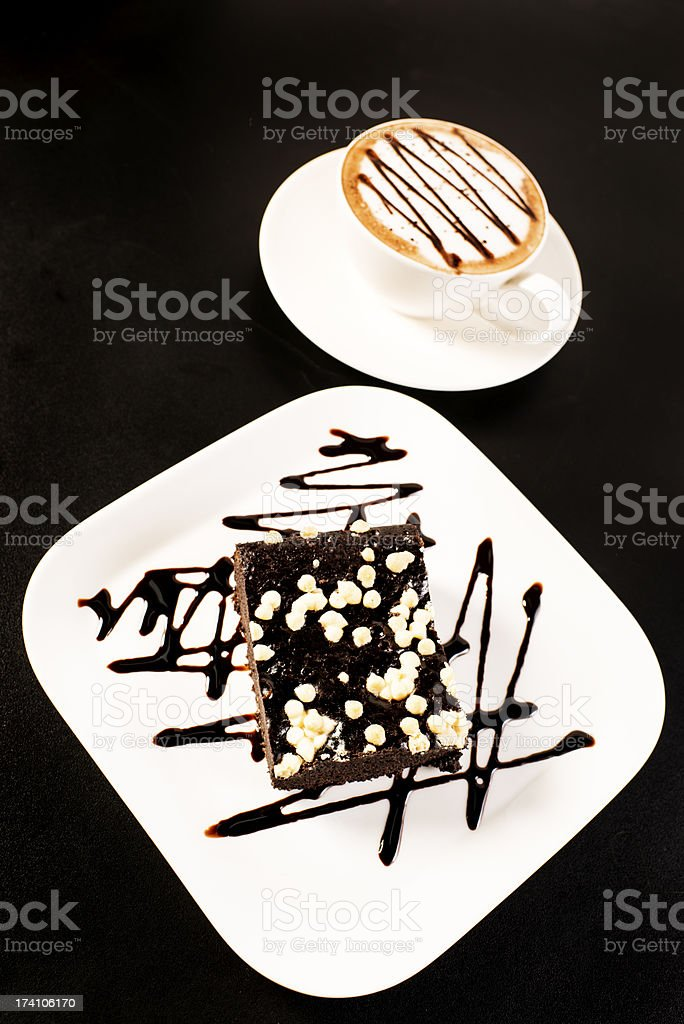 Cappuccino and Brownie royalty-free stock photo