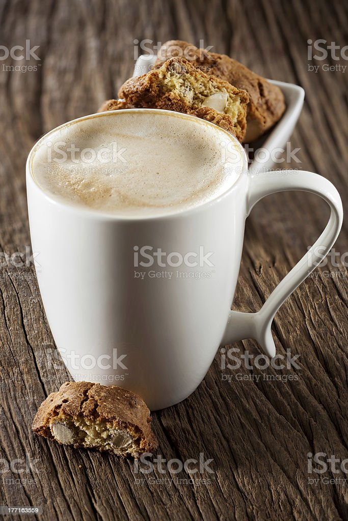 Cappuccino and cantuccini royalty-free stock photo
